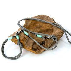 TAU STIL - Leine und Halsband aus Tau (10mm) - grau.mint - Messing - Hund