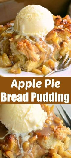 Amazing apple pie bread pudding wonderful warm apple treat better than apple pie! comforting bread pudding made with apple pie filling serve with ice cream for heavenly treat apple dessert falldessert applepie breadpudding apple crisp shortbread bars Apple Recipes, Fall Recipes, Sweet Recipes, Bread Recipes, Apple Dessert Recipes, Lasagna Recipes, Rib Recipes, Sausage Recipes, Vegan Recipes