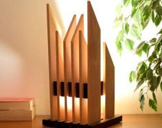 LED lamp in solid wood design: JUBELO by woodlampdesign on Etsy