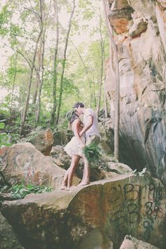 nature as the backdrop // photo by Alissa Saylor Photography http://ruffledblog.com/dreamy-rock-quarry-engagement/