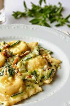 Buffalo ricotta ravioli with zucchini and mascarpone cheese