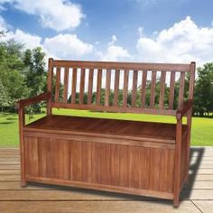 Hardwood Outdoor Bench with Storage - Wood Stain - $179 from Dealsdirect.com.au