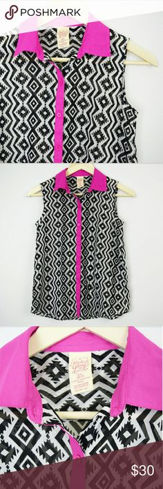 Geometric Bold Black and Pink Button Down Top Beautiful and striking button down sleeveless blouse. Black symmetrical geometric shapes on a white top. Hot pink collar and button lining accent. Chiffon type material. Elegant and fun at the same time. I'm excellent condition and lightly worn! Brand is Faded Glory. Size extra large or 10/12 in kids. Willing to consider reasonable offers, I love to negotiate! Bundle to save! Faded Glory Shirts & Tops Button Down Shirts