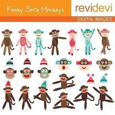 Funky Sock Monkeys 07056  Commercial use digital by revidevi, $5.95