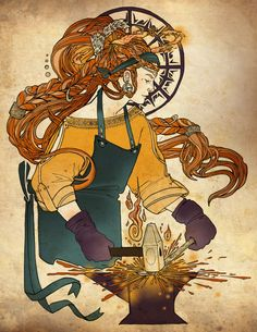 Aspects of Brighid, triple goddess - Helen Mask Illustration