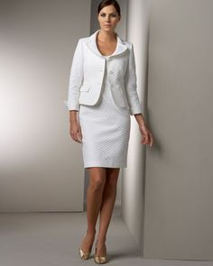 Albert Nipon Half-Sleeve Petal Collar Suit - Neiman Marcus | Suits ...