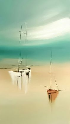 Sailboat Art, Nautical Art, Watercolor Pictures, Watercolor Paintings, Acrylic Art, Acrylic Painting Canvas, Boat Painting, Illusion Art, Abstract Canvas