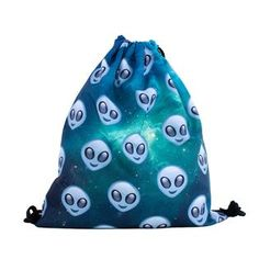 """The Universe is big, but our Grey Alien Heads Drawstring Bag are ready for any adventure that you are!"""
