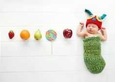 Adorable Hungry Caterpillar inspired crochet hat and cocoon - newborn photography prop. $36.00, via Etsy.