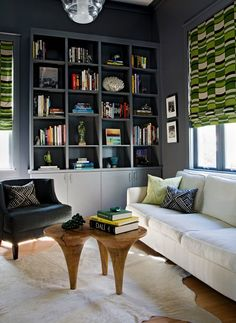 Suzie: Angie Hranowski - Chic blue & green den with blue walls paint color, built-ins painted ...