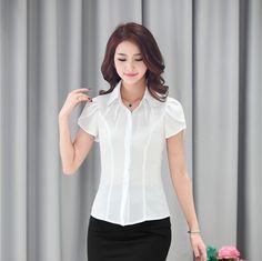 New 2015 Fashion Summer Blouse Women Work Wear Shirts Short Sleeve Tops Ladies Office Uniform Blouses OL Blusas Femininas