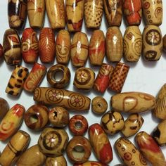 100Pcs/Pack 7mm-23mm Assorted Mixed Pattern Wooden Round Bead Loose Spacer Wholesale