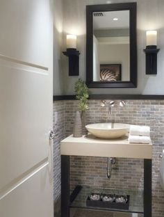 half bath tile ideas | Half Bathroom Designs brick tiles Half Bathroom Designs Minimalist ...