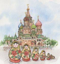 Nice watercolor painting that reminds me of our day trip to Kremlin, though that was in winters! :)
