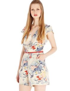 Printing Chiffon Casual Fashion Deep V-neck Jumpsuits for Women - Rompers Women, Jumpsuits For Women, Women's Rompers, Mono Floral, Fashion Prints, Fashion Design, Fashion Brand, Mini Vestidos, Floral Jumpsuit
