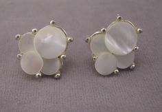 Gold Tone and Mother of Pearl Disc Screwback Earrings 1950s by thejeweledbear on Etsy
