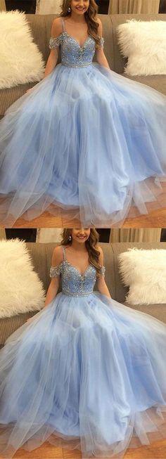 off-shoulder blue tulle long prom dresses #prom #promdress #promdresses #eveningdress #eveningdresses