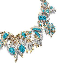 Parure Collier - Diamants et Turquoises - Schlumberger - Années 60