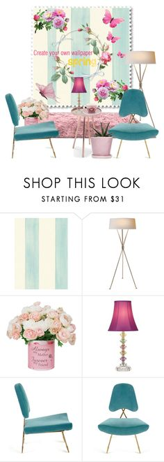 """Create your paper spring wallpaper"" by nicolevalents ❤ liked on Polyvore featuring interior, interiors, interior design, home, home decor, interior decorating, Universal Lighting and Decor, Jonathan Adler and PiP Studio"