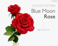 Crochet Rose Pattern -  Crochet Flower Pattern - Large Blue Moon Rose Crochet Pattern - Hybrid Tea Flower Pattern
