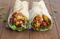 Hawaiian BBQ Chicken Wraps - - Nothing better than a little Hawaiian twist to BBQ chicken, layered inside a tasty wrap! These Hawaiian BBQ Chicken Wraps are EASY, healthy and delicious. Bbq Chicken Wraps, Chicken Wrap Recipes, Pork Wraps, Barbecue Chicken, Protein Lunch, High Protein, Hawaiian Bbq, Food Porn, Side Dishes For Bbq