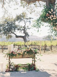 One of the prettiest weddings you'll ever see this California celebration held at Sunstone Winery was captured by Santa Barbara Wedding Photographer Jen Huang. Styled by Davia Lee Events it features beautiful florals by Jenn Chez and a Monique Lhuillier g Wedding Altars, Rustic Wedding, Large Floral Arrangements, Bridal Table, Wedding Fair, Wedding Photography Inspiration, Wedding Inspiration, Wedding Ideas, Vineyard Wedding