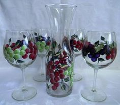 Grapes Wine Decanter Set by Morningglories1 on Etsy, $85.00