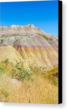 Colorful Badlands Canvas Print featuring the photograph Colorful Badlands Of South Dakota by Debra Martz  www.debramartz.com #badlands #nationalpark #southdakota