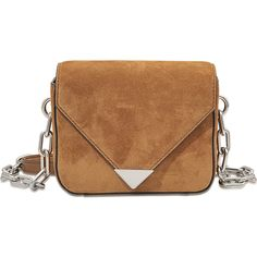 Alexander Wang Prisma Envelope Mini Sling With Chain In Calfskin Suede ($438) ❤ liked on Polyvore featuring bags, handbags, shoulder bags, brown, alexander wang, sling purse, chain purse, miniature purse and mini purse