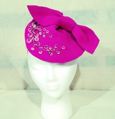 Pink Felt Profile Hat  Crystal Berry by katherinecareyhats on Etsy, $175.00