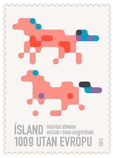 Icelandic post stamp, designed by Siggi-Eggertsson