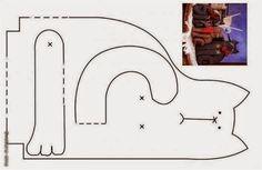 ARTESANATO COM QUIANE - Paps,Moldes,E.V.A,Feltro,Costuras,Fofuchas 3D: Molde gatinho de retalho