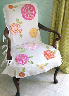 Slipcovers are a great way to revamp a chair or sofa without the cost and time of reupholstering or buying a new piece of furniture. Changing the look of even just one chair in a room can have a big impact on the whole space. I like to have white slipcovers on hand for my chairs because they're versatile and I can easily add to them. If you are unable to sew your own solid colored slipcover, you can hire someone else to do it or see if there's a slipcover for sale that would fit your…