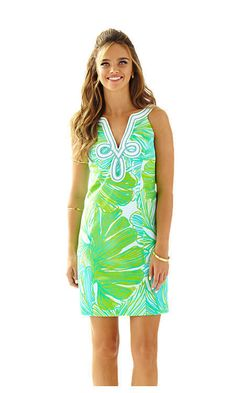 Lilly Pulitzer TESSA Green Sheen Fronds Place Shift Dress NWT Sealed size 10
