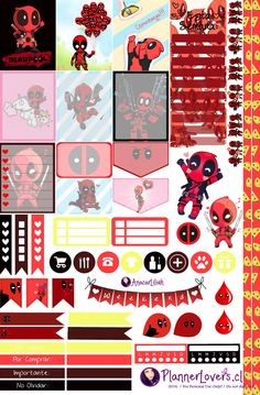 Deadpool Free Printable Stickers by AnacarLilian on DeviantArt Printable Planner Stickers, Journal Stickers, Free Planner, Happy Planner, Planner Layout, Planner Ideas, Deadpool Free, Planner Organization, Journaling