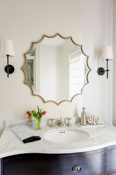 Modern Bathroom Lights Over Mirror Modern Bathroom Lights Over Mirror. However, after having a general theme of modern bathroom mirror style, you have to choose Farmhouse Bathroom Mirrors, Small Bathroom Mirrors, Beige Mirrors, Bathroom Mirror Design, Diy Vanity Mirror, Bathroom Mirror Makeover, Modern Bathroom, Vanity Bathroom, Big Bathrooms