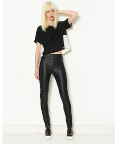 Red or Dead Leather Look Panelled Leggings | BANK Fashion