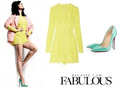 Shop Celebrity Closet: Katy Perry Valentino Neon Lace Playsuit & Christian Louboutin So Kate Pumps - http://www.becauseiamfabulous.com/2014/01/katy-perry-valentino-neon-lace-playsuit-christian-louboutin-so-kate-pumps/