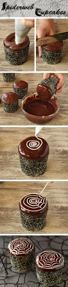 RECIPE - Spiderweb Cupcakes with Chocolate Spiders (Source : http://www.sugarhero.com/spiderweb-cupcakes/) #halloween #spider #recipe #cupcake #chocolate