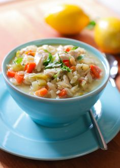 Lemon Chicken Orzo Soup!  Easiest soup I've ever made..and did I mention healthy??