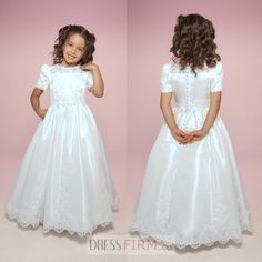 2015 Vintage New Style Best Sell Siren Lace Short Sleeves Floor Length Hottest First Communion Dresses [FCD-4826] - $ 125.99 :