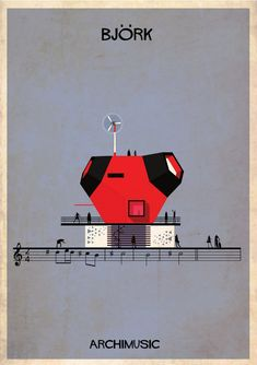 "ARCHIMUSIC: Illustrations Turn Music Into Architecture - Federico Babina / Bjork, ""Joga"""