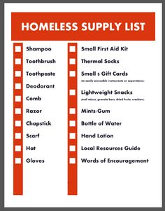 homeless_supply_checklist.  Items to put in a ziplock bag to keep in your car for the homeless.