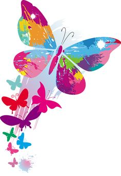 Rosa do vetor da borboleta PNG Set of vector colorido