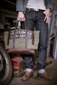 Men's WWII Canvas & Leather Carryall http://www.forestbound.com/collections/mens-bags/products/mens-canvas-and-leather-carryall#...PANTS ARE SWEET TOO