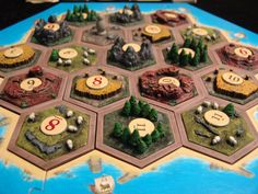 Hand Designed Crafted and Painted 3D Settlers of Catan Tiles