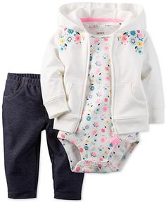 Carter's Baby French Terry  Girls' 3-Pc. Floral-Print Hoodie, Bodysuit & Jeggings Set | macys.com