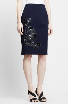 Christopher Kane Floral Appliqué Wool Pencil Skirt available at #Nordstrom