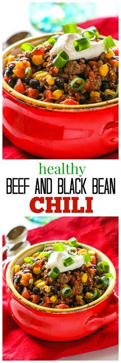 Healthy Spicy Beef and Black Bean Chili - 298 calories per serving! http://the-girl-who-ate-everything.com