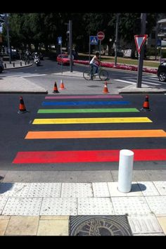 """""""Tel Aviv municipality has colored this morning some of its crosswalks in preparation for the annual Gay Pride parade and """"pride week"""".""""   #LGBT #LGBTPride"""